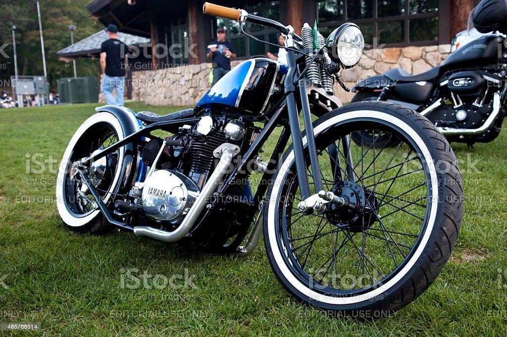 Custom Yamaha Bobber Motorcycle at the Car Cruse Rally stock photo