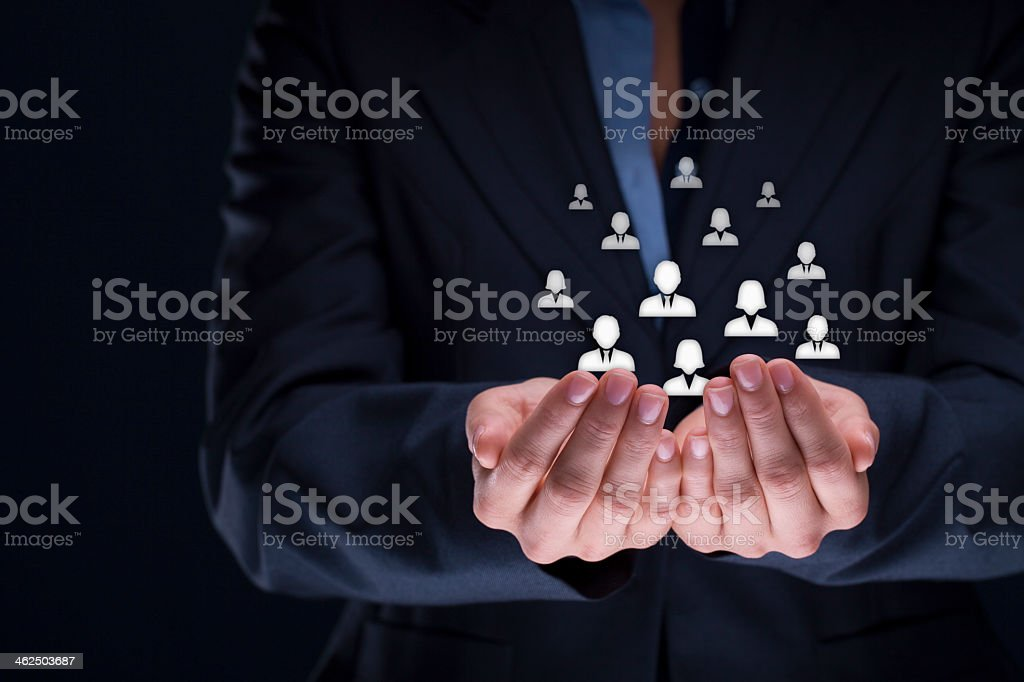 Customer and employees care plus concept stock photo