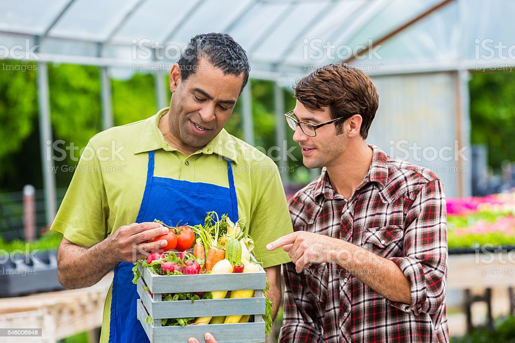 Customer asks farmer questions about produce stock photo