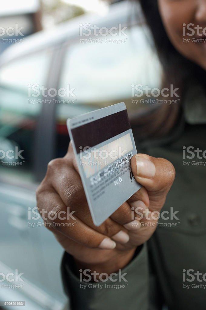 Customer at Petrol Station royalty-free stock photo
