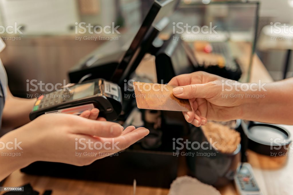 Customer buying food in shop stock photo