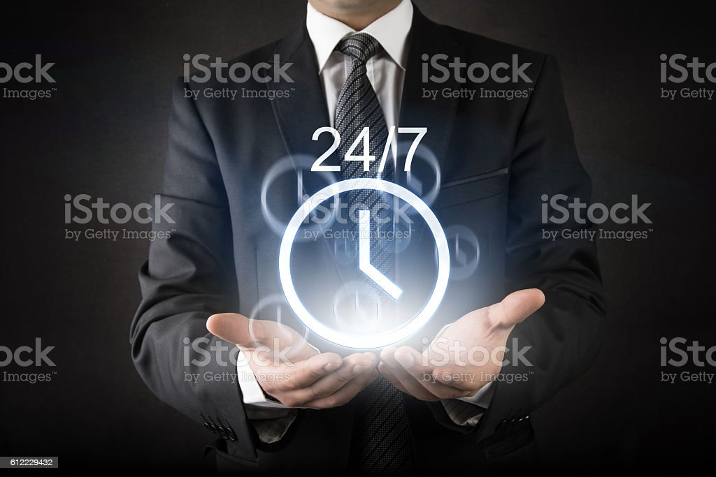 Customer Care with 24/7 nonstop service consept stock photo