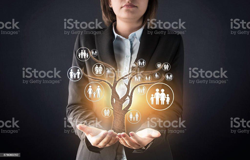 Atención al cliente del concepto abstracto de árbol familiar - foto de stock