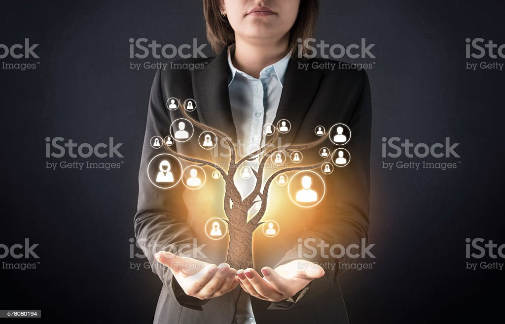 Customer care with human tree abstract concept stock photo