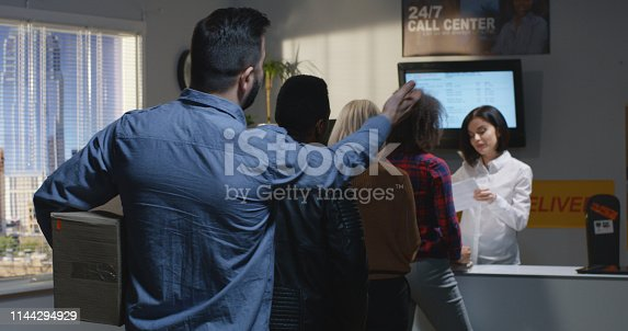 istock Customer complaining about slow service in delivery center 1144294929