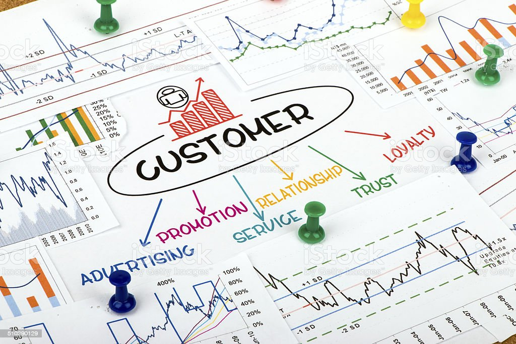 customer concept in financial chart stock photo
