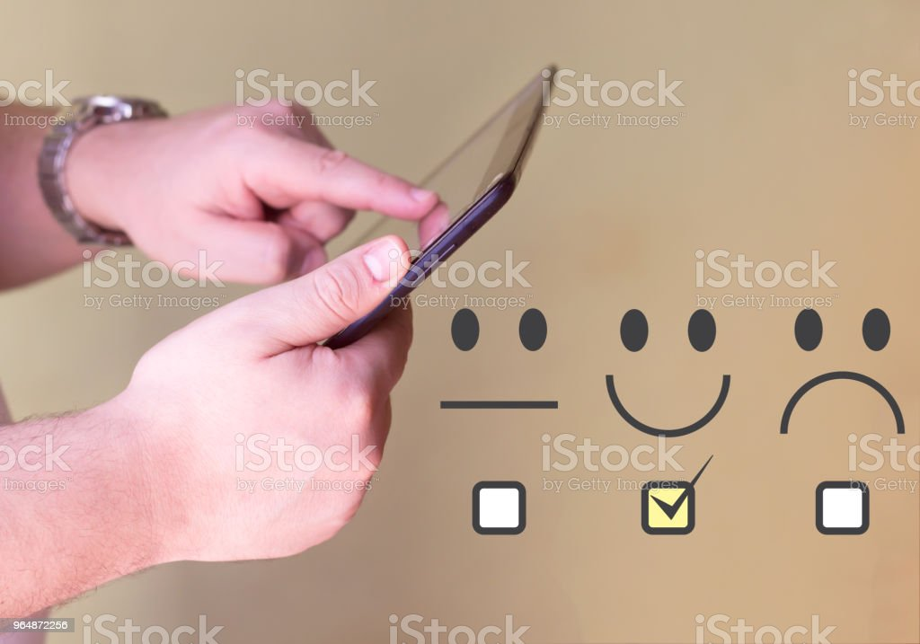 Customer Experience Concept, Happy Businessman holding digital Tablet royalty-free stock photo