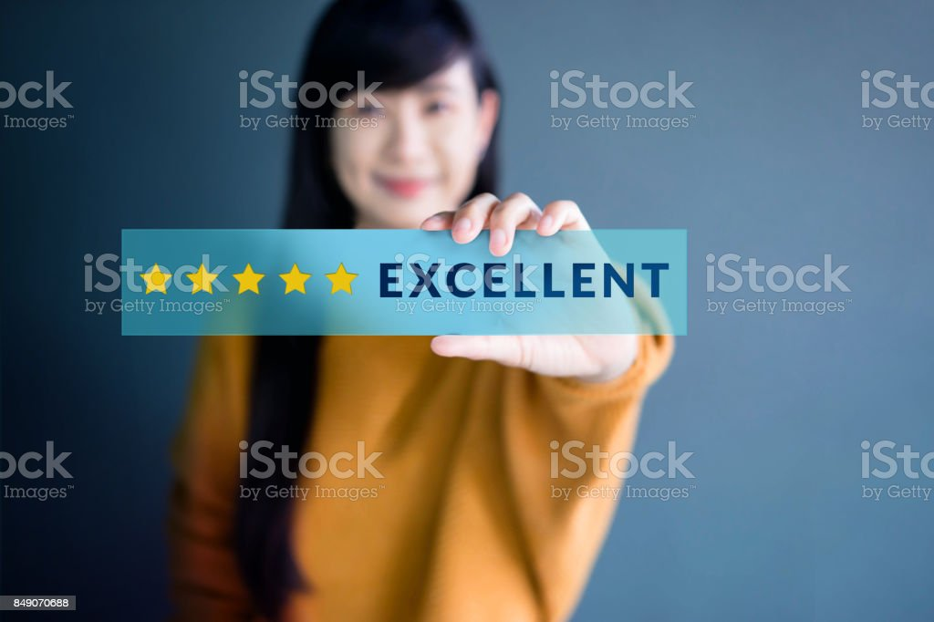 Customer Experience Concept, Happy Woman Show Excellent Rating with Five Star icon for her Satisfaction on transparent label stock photo