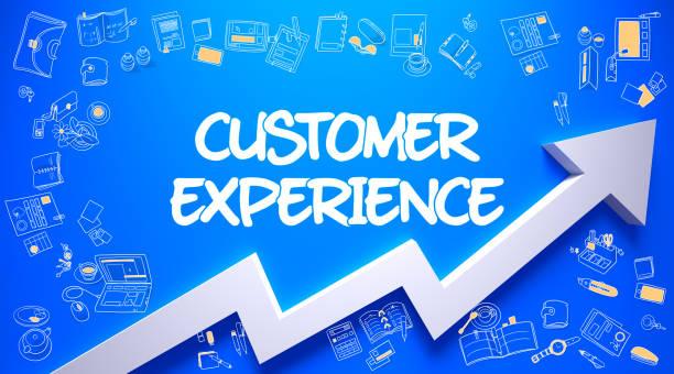 customer experience drawn on blue wall. - feedback icon imagens e fotografias de stock