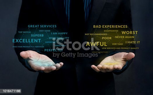 Customer Experience Strategy Concept. Positive and Negative Online Review Floating over Businessman's Hand to Measurement and Analysis