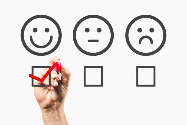 Customer Feedback - Survey Concept - Giving positive feedback stock photo