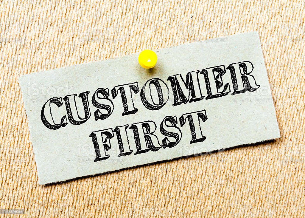 Customer First Message stock photo