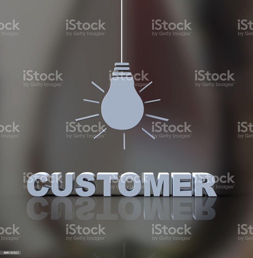 Customer idea light bulb stock photo