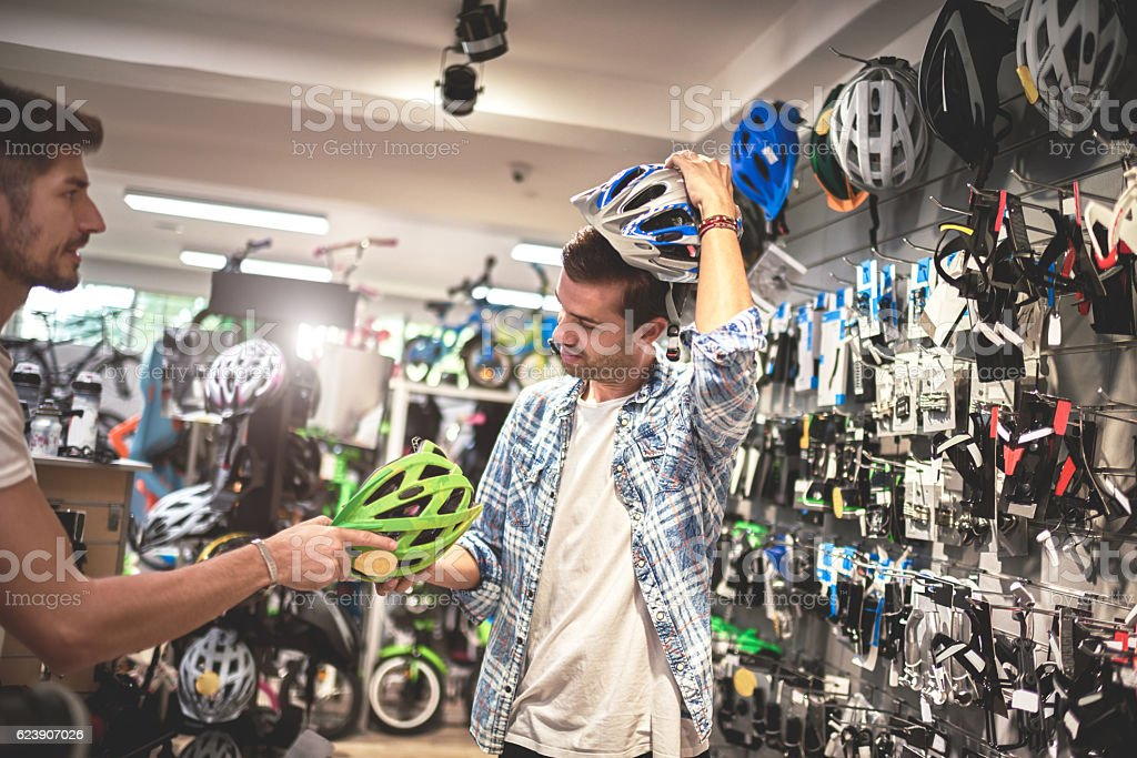 Customer in bicycle store stock photo