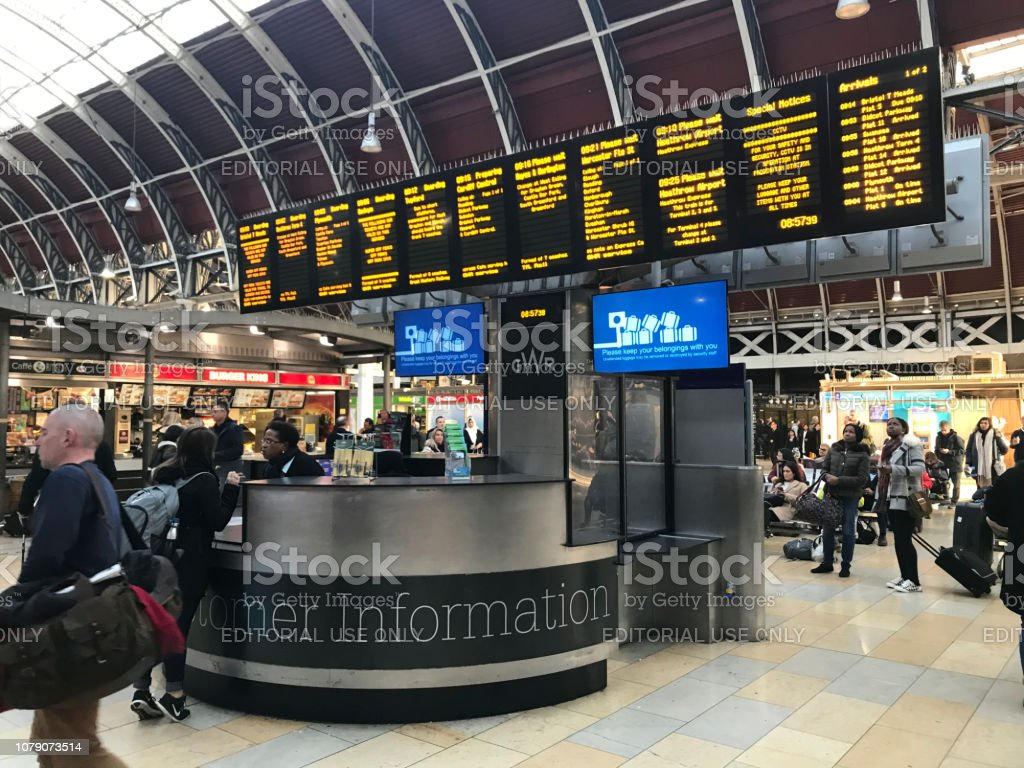 Customer information desk Paddington station London stock photo