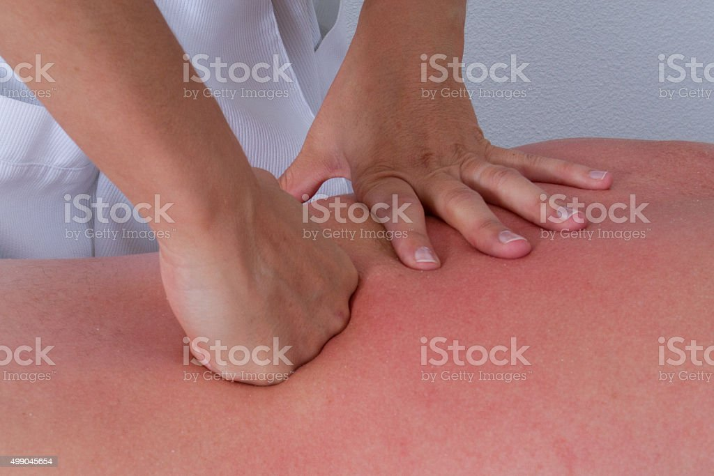 Customer is relaxing in massage at the spa stock photo