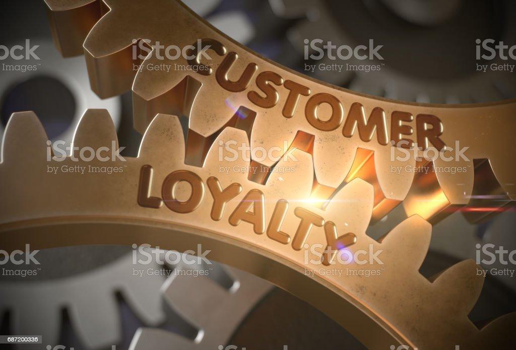 Customer Loyalty Concept. Golden Gears. 3D Illustration stock photo