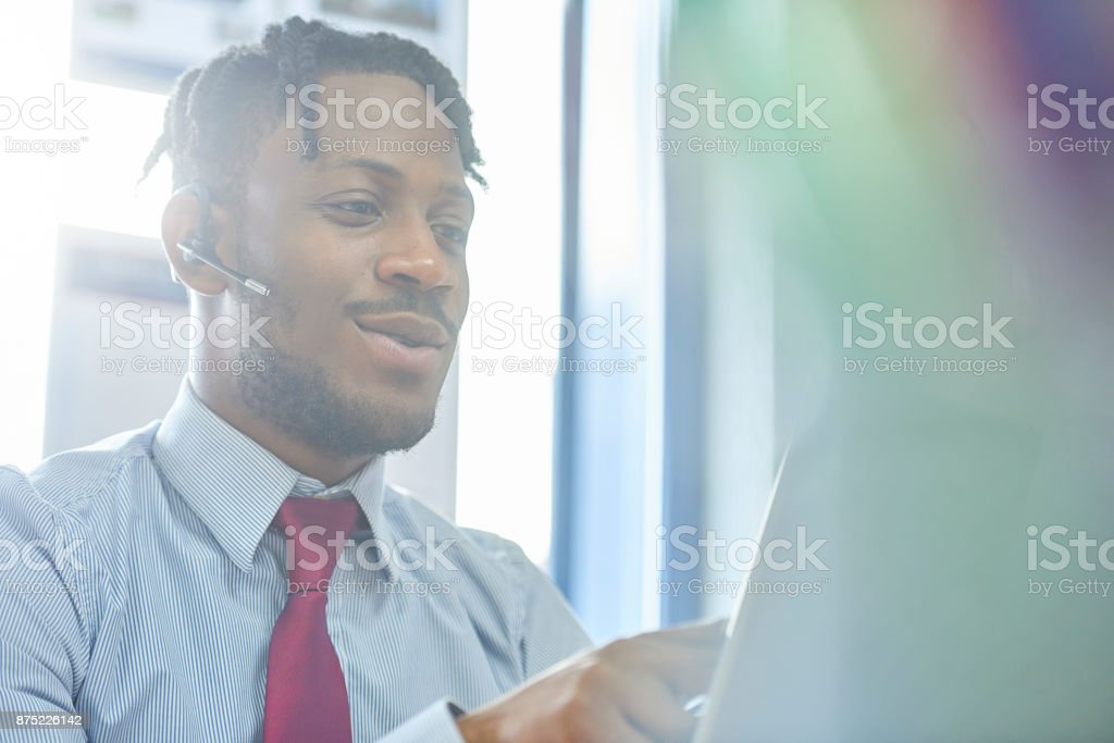 Customer on the line stock photo