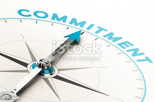 Conceptual compass with needle pointing the word commitment. 3D illustration with cian and beige tones.