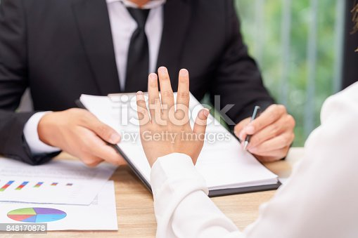 848170878istockphoto Customer or woman says no or hold on when businessman giving pen for signing a contract 848170878