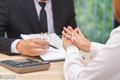 848170878istockphoto Customer or woman says no or hold on when businessman giving pen for signing a contract. 931345014