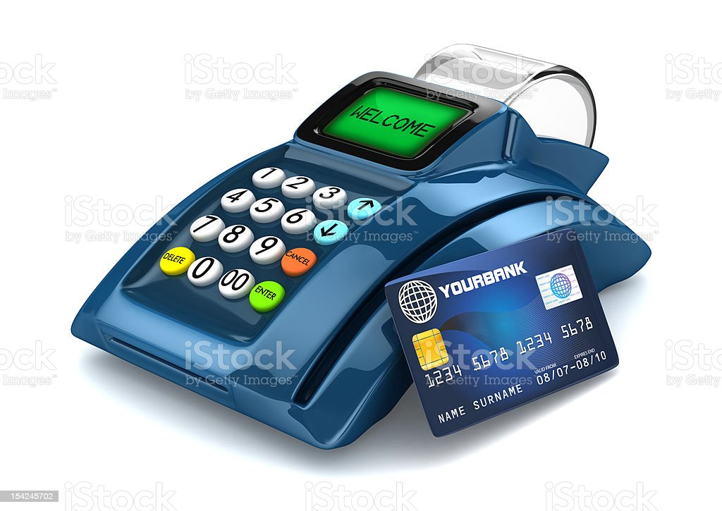 Customer POS terminal with credit card showing stock photo
