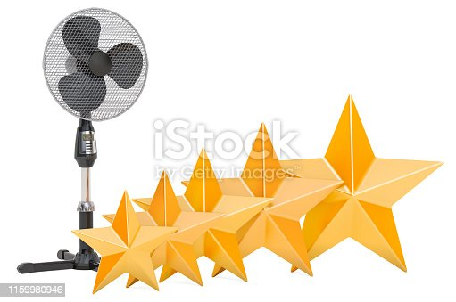 istock Customer rating of standing pedestal fan, concept. 3D rendering isolated on white background 1159980946