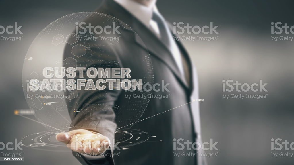 Customer Satisfaction Businessman Holding in Hand New technologies stock photo
