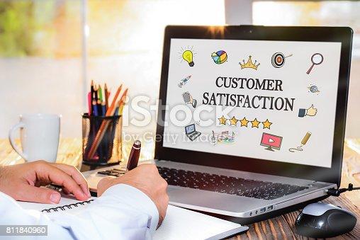 700303384 istock photo Customer Satisfaction Concept On Laptop Monitor 811840960