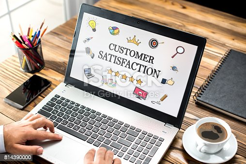 700303384 istock photo Customer Satisfaction Concept On Laptop Monitor 814390000