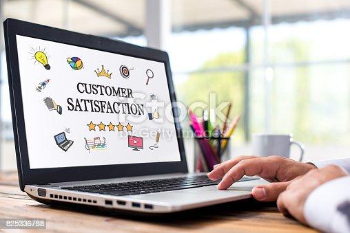 700303384 istock photo Customer Satisfaction Concept On Laptop Monitor 825336788