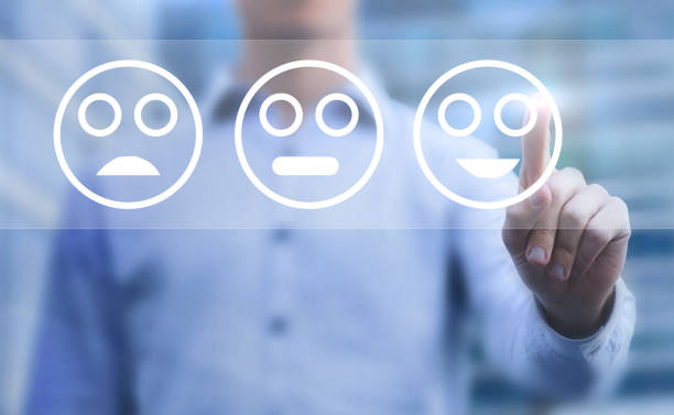 customer satisfaction concept - feedback icon imagens e fotografias de stock