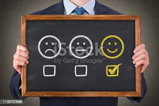 1043458924 istock photo Customer Satisfaction Concepts on Chalkboard Background 1148707658