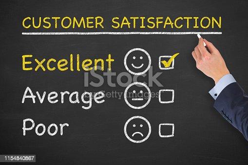 1043458924 istock photo Customer Satisfaction Concepts on Chalkboard Background 1154840867