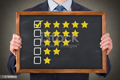 1043458924 istock photo Customer Satisfaction Concepts on Chalkboard Background 1157806943