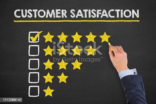 1043458924 istock photo Customer Satisfaction Concepts on Chalkboard Background 1212068142