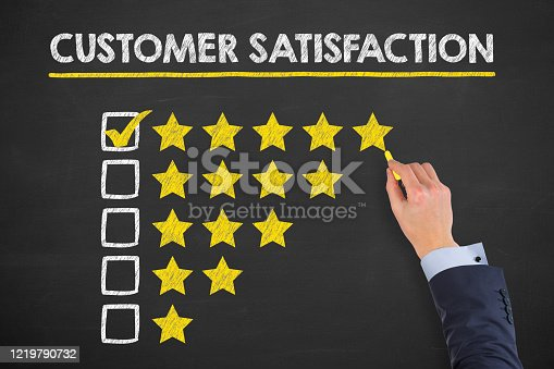 1043458924 istock photo Customer Satisfaction Concepts on Chalkboard Background 1219790732