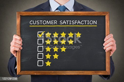 1043458924 istock photo Customer Satisfaction Concepts on Chalkboard Background 1221291233