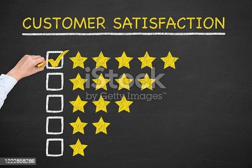 1043458924 istock photo Customer Satisfaction Concepts on Chalkboard Background 1222858286