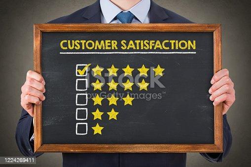 1043458924 istock photo Customer Satisfaction Concepts on Chalkboard Background 1224269411