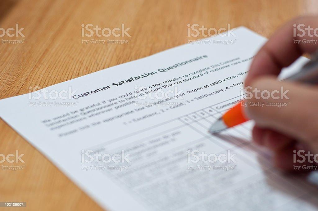 Customer Satisfaction Questionnaire stock photo