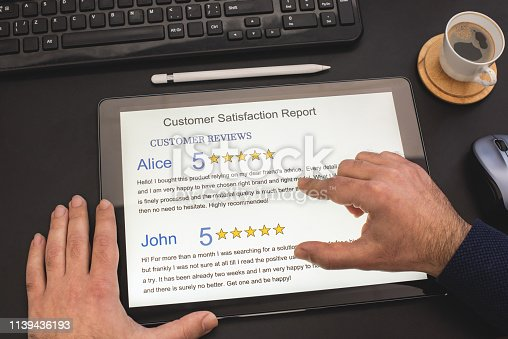 693589426 istock photo Customer Satisfaction Report on Digital Tablet In Office 1139436193