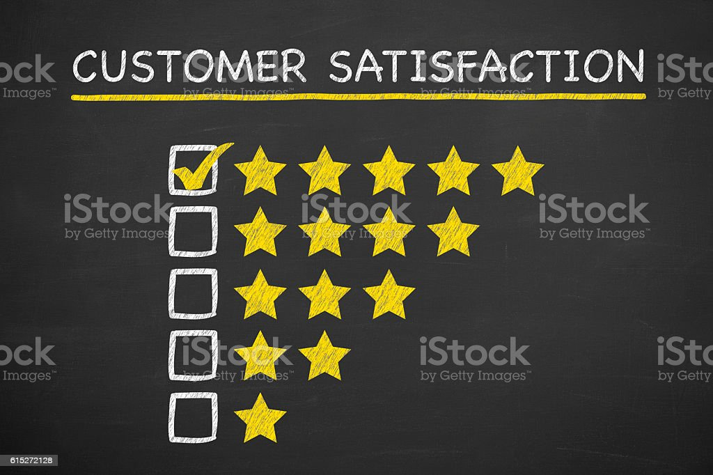 Customer Satisfaction Stars on Blackboard stock photo