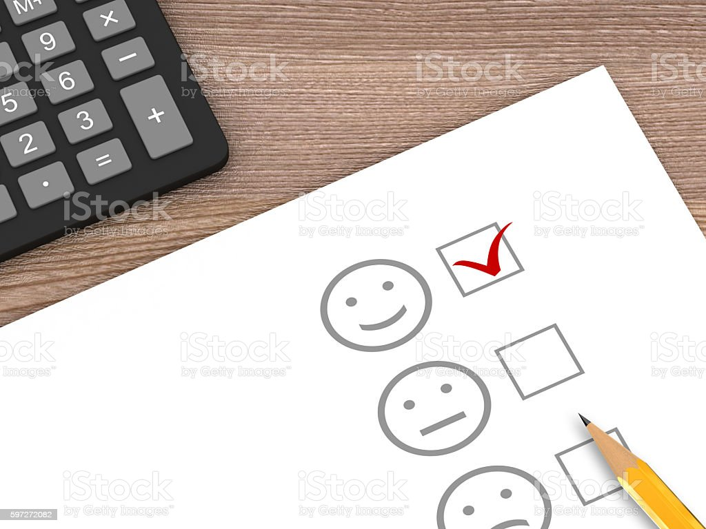 Customer satisfuction survey feedback desk top view royalty-free stock photo