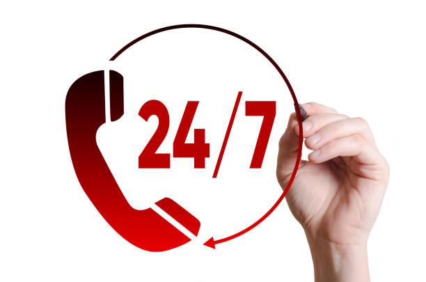 service à la clientèle 24h/24 et 7j/7 - nombre 24 photos et images de collection
