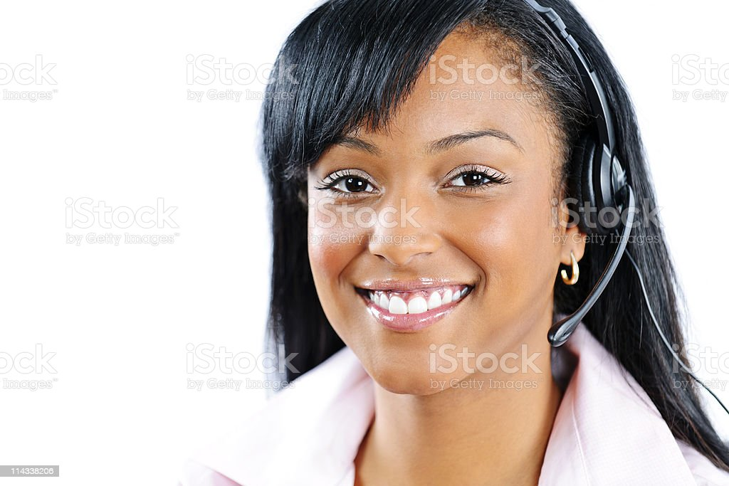 Customer service and support representative with headset stock photo