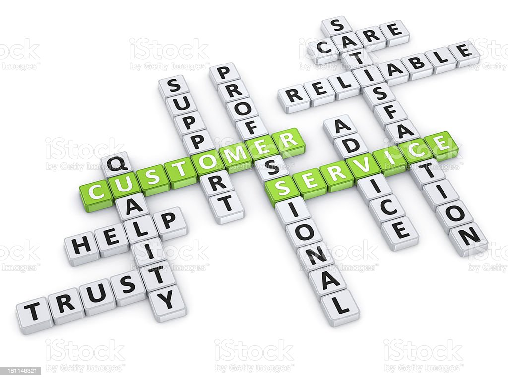 Customer Service crossword concept stock photo