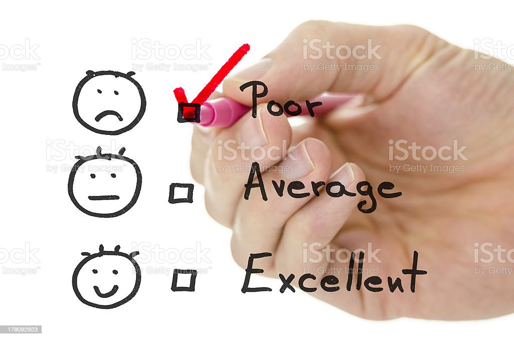 Customer service evaluation form with tick on poor royalty-free stock photo
