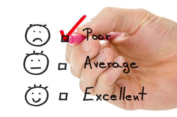Customer service evaluation form with tick on poor stock photo