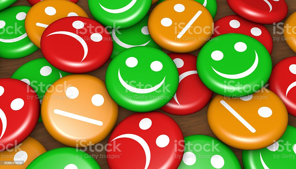 Customer Service Feedback Happy Rating Business quality service customer feedback, rating and survey with happy and not smiling face emoticon symbol and icon on badges button. Advice Stock Photo